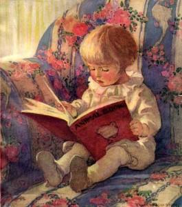 jessie-willcox-smith-_jeune_enfant_lisant_livre_animalier