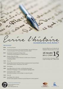 Journée d'étude «Écrire l'histoire : reconstruction, récit, fiction ?»